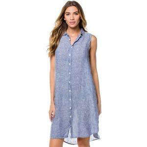 CP Shades Sleeveless Linen Chambray Shirt Dress
